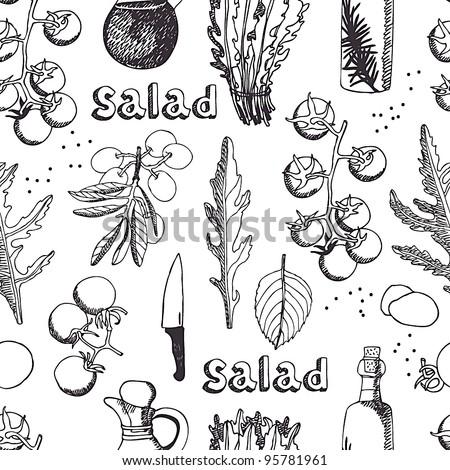 Salad with arugula, mozzarella and tomato background - stock vector