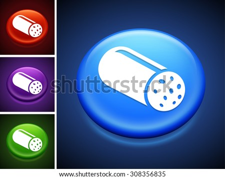 Salami on Blue Round Button