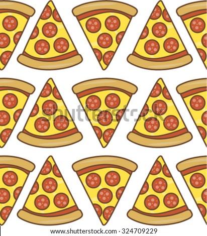 Salami pizza slice Seamless Pattern Stock Vector Royalty Free - stock vector