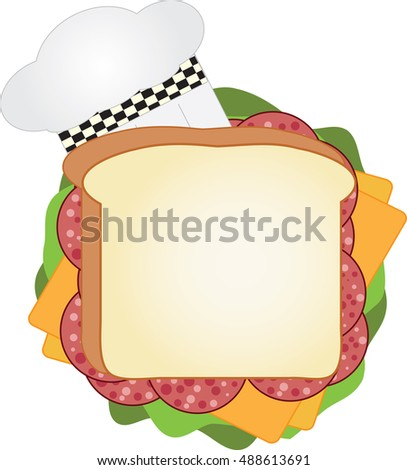 Salami sandwich with cheese, lettuce and a chef hat