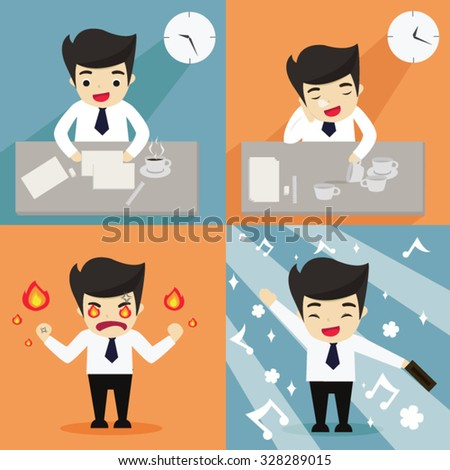 Salary man in four activities; working, taking a nap, angry and happy. business concept flat vector illustration - stock vector