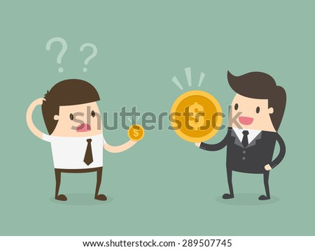 Salary variation. Flat design business concept cartoon illustration. - stock vector