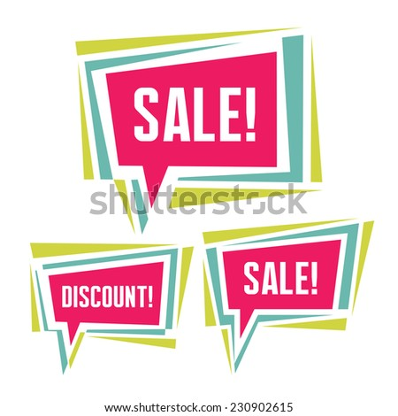 Sale abstract vector banners. Sale vector original badges. Speech bubbles abstract banners. Abstract geometric speech bubbles banners. Design element.   - stock vector