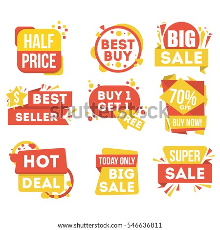 Sale and discount badge set isolated in white background