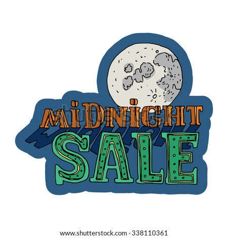 Sale and discount card, banner, flier. Midnight sale title. Moon, planet. Hand drawn red, green letter with yellow dots composition isolated on white background. Editable vector illustration template - stock vector