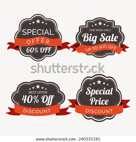 Sale and discount offer sticker, label or tag with ribbon. - stock vector