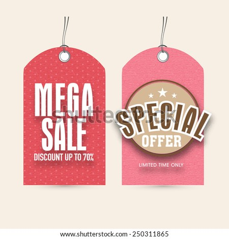 Sale and discount offer tags for International Women's Day celebration. - stock vector