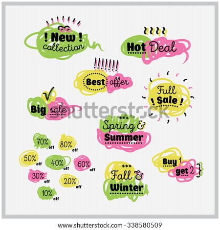 Sale and discount set of hand drawn comic labels. Best price and special offer. Felt pen effect. Banner, flier, board. Shopping sticker. Price reduction. Trade commerce element. Promo sign. Vector - stock vector