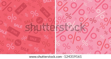 Sale and percentage signs two seamless pattern backgrounds - stock vector