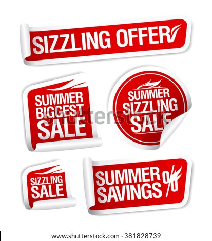 Sale and savings stickers set, Summer sizzling offers. - stock vector