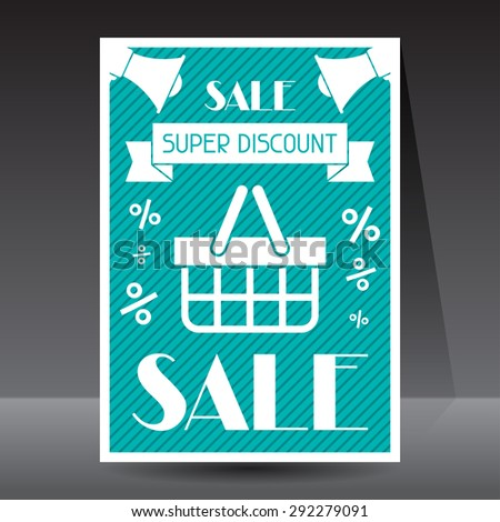 Sale and shopping flyer advertising poster design. - stock vector