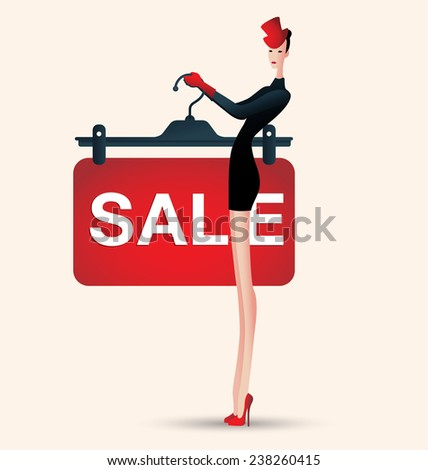 sale and woman shopping, vector illustration of fashion, clothing - stock vector