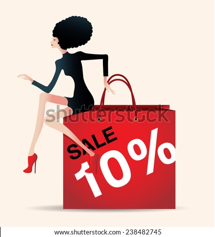 sale and woman shopping, vector illustration of fashion, discount - stock vector
