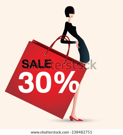 sale and woman shopping, vector illustration of fashion, stylist - stock vector