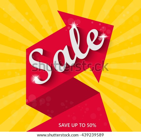 Sale arrow banner. Sale background. Sale tag. Sell vector. Sale and special offers. 50% discount. Vector illustration. - stock vector