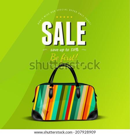 Sale bag over green background. Vector illustration - stock vector