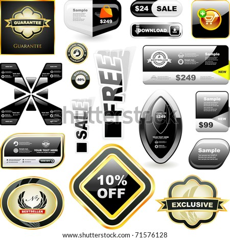 Sale banner and badge templates for internet. Advertising tag and buttons for business. - stock vector