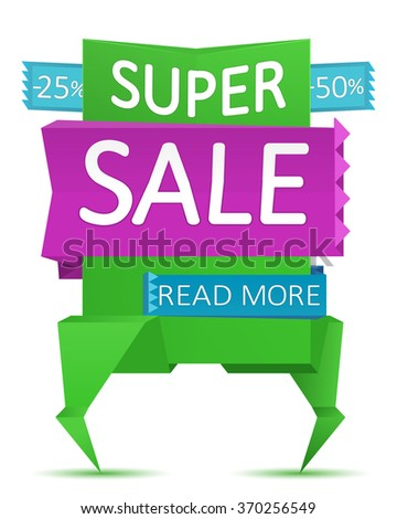 Sale banner background. Paper origami vector. Selling poster.Discount -25%,-50% off.