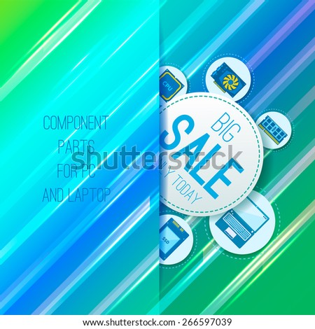 Sale banner. Component parts for PC and laptop. Straight background. Vector - stock vector
