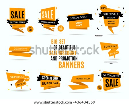 Sale banner design. Big set of beautiful yellow discount and promotion banners. Advertising element. Sale banner tag. Sale banner art. Vector illustration, eps 10 - stock vector