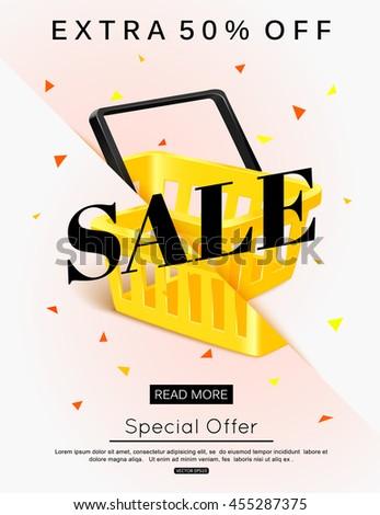Sale banner design. Vector eps 10 format. - stock vector
