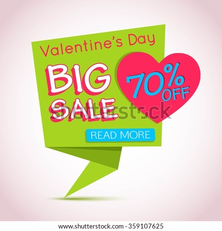 Sale Banner for Valentines Day. Origami Heart Template. Vector EPS 10. - stock vector