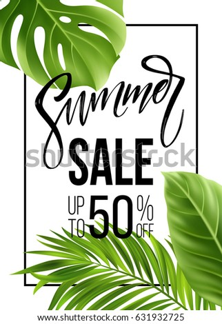 Sale banner, poster with palm leaves, jungle leaf and handwriting lettering. Floral tropical summer background. Vector illustration EPS10
