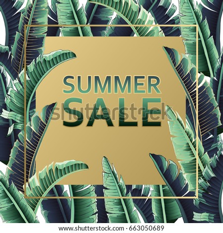 Sale banner, poster with palm leaves, jungle leaf and handwriting lettering. Floral tropical summer background. Vector illustration gold text.
