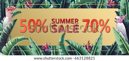 Sale banner, poster with palm leaves, jungle leaf. Floral tropical summer background. Vector illustration parrot, bird in paradise.