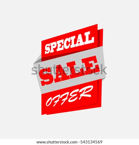 Sale banner. Red discount poster. Special offer. Vector, eps10