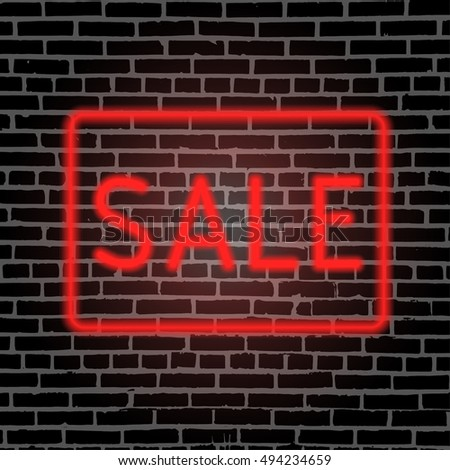 Sale banner. Sale on grunge background.  Neon lettering on the brick wall. Vector illustration.