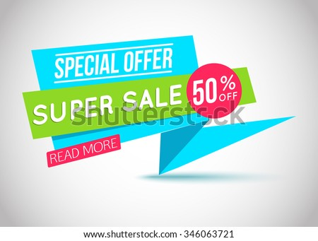 Sale banner template. 50% off. Vector illustration. - stock vector
