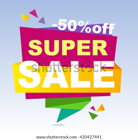 Sale banner vector. 50%off. Vector illustration.