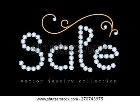 Sale banner with diamond jewelry letters and gold jewellery swirl decoration on black, vector illustration - stock vector