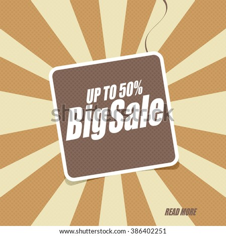 Sale banner with text: Big sale up to 50%.  - stock vector