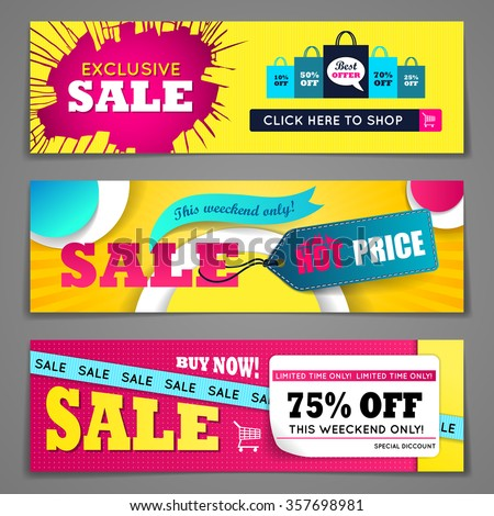 Sale banners design set for web and mobile devices - stock vector