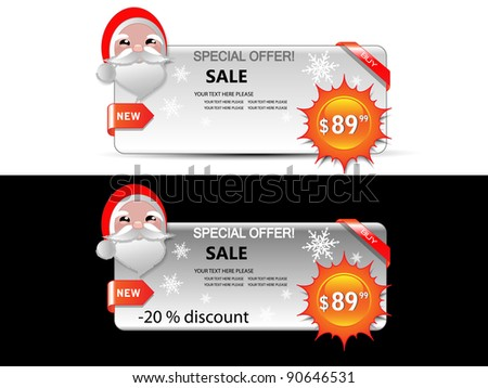 Sale banners with Santa -Vector - stock vector