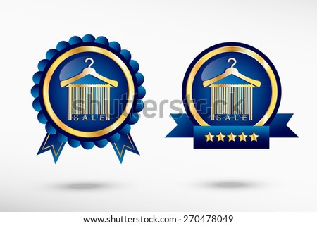 Sale barcode clothes hanger stylish quality guarantee badges. Blue colorful promotional labels - stock vector