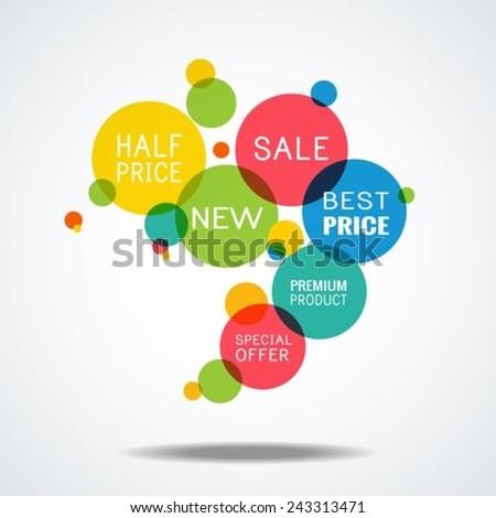 Sale, best price, new, premium product, half price, half price, circles icons collection - stock vector