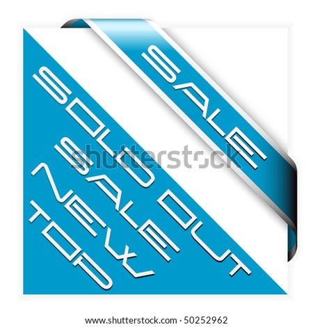 Sale blue corner ribbon with white border - stock vector