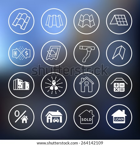Sale buildings materials (roof, facade) site icons set isolated on blurred background, vector illustration - stock vector
