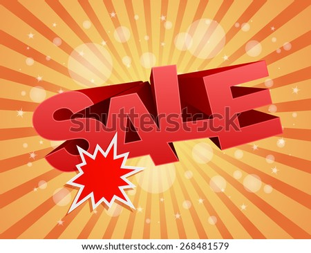 sale business background with splash star label design - stock vector