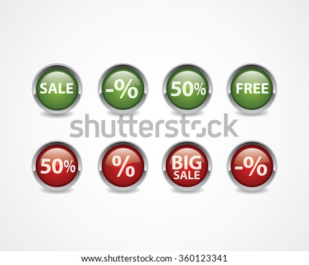Sale buttons. Green and red color, big sale, free, sale... vector draw image.  - stock vector