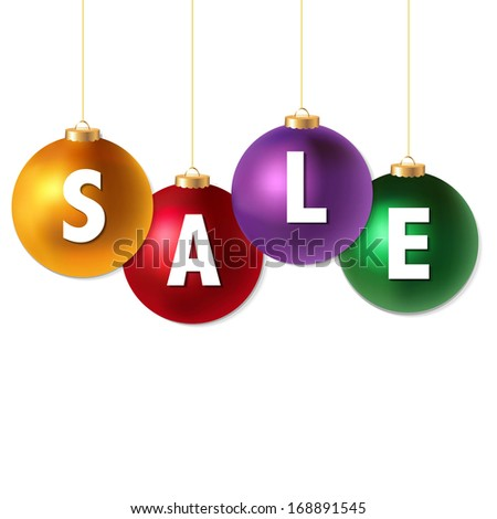 Sale Christmas Balls, With Gradient Mesh, Vector Illustration