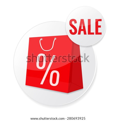 Sale circle tags with Sale text and shopping bag. Concept of discount. Vector illustration. - stock vector