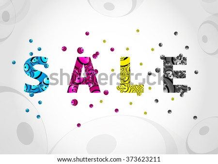Sale colorful CMYK background - stock vector