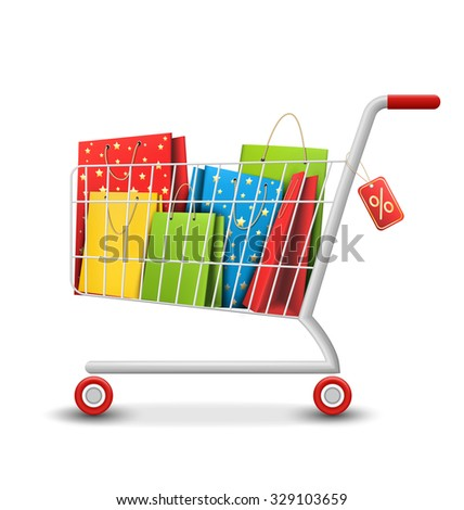 Sale Colorful Shopping Cart with Bags Isolated on White Background - stock vector