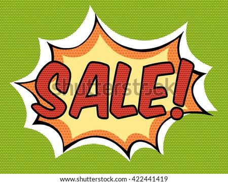 Sale. Comic book explosion. Sale comic speech bubble. Sale label in pop art style - stock vector