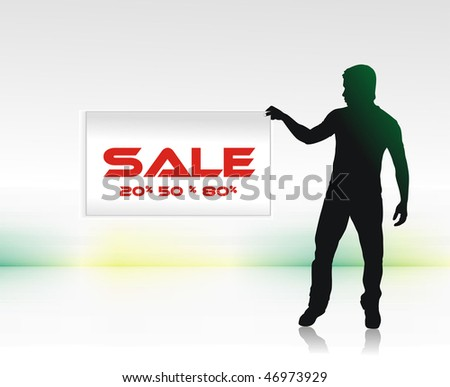 sale concept with showing a young man sale discount, vector illustration, No mesh in this Vector - stock vector