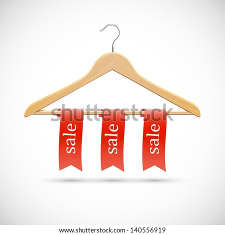 Sale concept - wooden hangers  with red ribbons. Vector EPS10